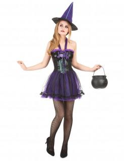 Sexy Damenkostüm Hexe Halloween schwarz-lila