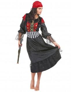 Elegante Piratin Damenkostüm schwarz-rot-gold