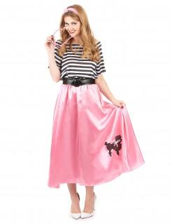 50er-Damenkostüm 50er-Jahre-Kleid rosa-schwarz-weiss