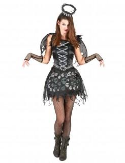 Schwarzer Engel Totenkopf Damenkostüm schwarz-weiss