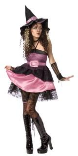 Liebreizende Hexe Halloween Kostüm für Damen schwarz-rosa
