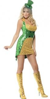 Sexy Irinnen-Kleid Damenkostüm grün-gold
