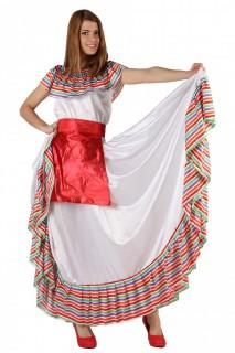 Mexikanische TänzerinDamenkostüm weiss-bunt