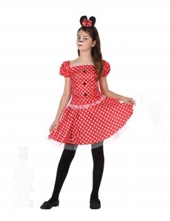 Maus-Kostüm für Mädchen Faschingskostüm rot-weiss-schwarz