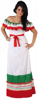 Mexikanerin-Damenkostüm Mexiko-Kleid weiss-grün-rot