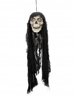 Leuchtender Totenschädel mit Sound Halloween-Hängedeko schwarz-weiss