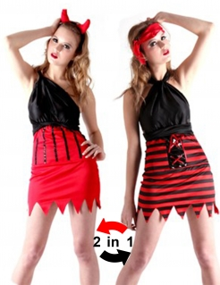 Teufelin und Piratin 2 in 1 Halloween Kostüm für Damen schwarz-rot