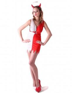 Sexy Engel/Teufelin Halloween Kostüm für Damen rot-weiss