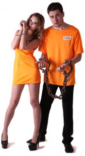 Sträflinge Paarkostüm für Erwachsene schwarz-orange