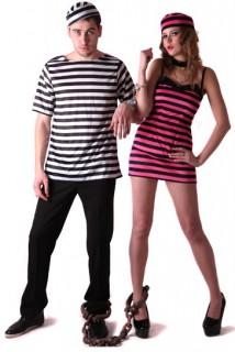Gefährliche Gefangene Paarkostüm für Erwachsene schwarz-pink-weiss