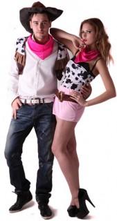 Cowboy und Cowgirl Paarkostüm für Erwachsene bunt