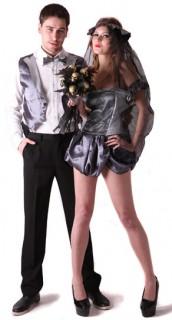 Gothic Brautpaar Halloween-Paarkostüm für Erwachsene grau
