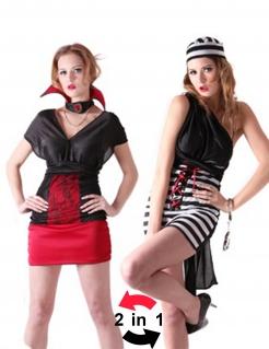 Sexy Wendekostüm Vampirin Gefangene schwarz-weiss-rot