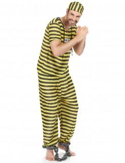 Lustiges Gefangenen-Kostüm für Erwachsene schwarz-gelb