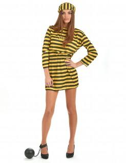 Sexy Sträfling-Damenkostüm Gefangene schwarz-gelb