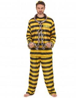 Sträfling Kostüm Gefangener schwarz-gelb