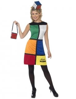 Zauberwürfel-Damenkostüm Rubiks Cube bunt