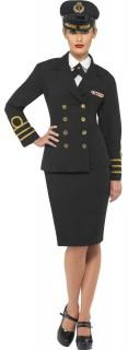 Marine Offizierin Kapitänin Damenkostüm schwarz-gold