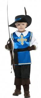 Musketier Kinderkostüm blau-weiss-schwarz