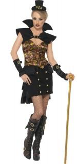 Steampunk Viktorianische Wildwest Vampirin Halloween Damenkostüm schwarz-gold
