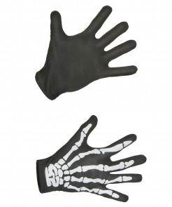 Handschuhe mit Skelett-Aufdruck schwarz-weiss