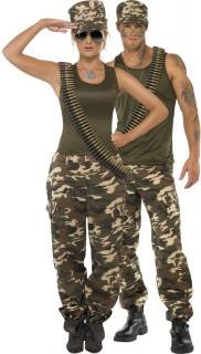Soldaten Erwachsenenkostüm für Paare Camouflage - khakifarben