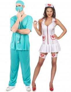 Paar-Kostüm für Erwachsene - Krankenschwester und OP-Arzt - weiß/rot/türkis