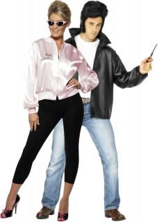 Grease-Jacken Paarkostüm Erwachsene schwarz-weiß