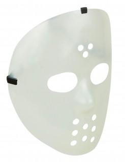 Nachtleuchtende Horror Hockeymaske transparent-schwarz