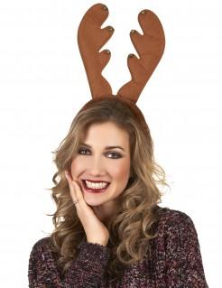 Rentier-Haarreif mit Glöckchen Geweih Weihnachts-Accessoire braun-gold