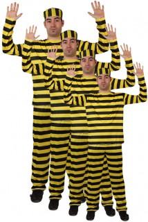 Gefangener Gruppenkostüm 4 Kostüme schwarz-gelb