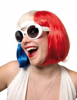 Frankreichperücke für Damen blau-rot-weiss