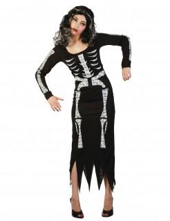 Tag der Toten Skelett-Kleid Halloween-Damenkostüm Knochen schwarz-weiss