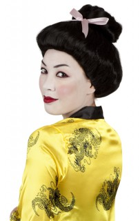 Geisha Perücke mit Dutt und Schleife schwarz-rosa