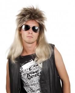 Glam-Rock-Perücke 80er-Herrenperücke lang blond