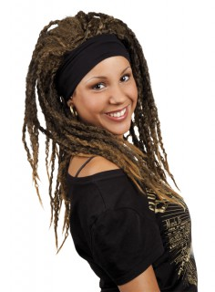 Hippie-Damenperücke Rasta-Perücke mit Kopfband braun