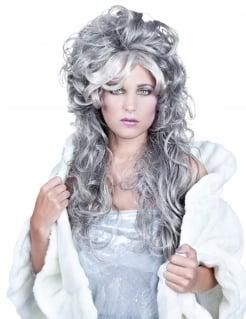 Langhaarperücke für Damen mit Pony lockig grau