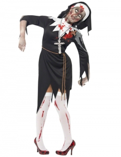 Blutige Zombie-Nonne Halloween-Damenkostüm schwarz-weiss-rot
