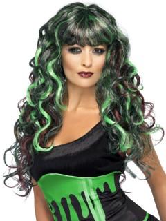 Hexe Gothic Meerjungfrau Perücke lang Locken schwarz-grün-rot