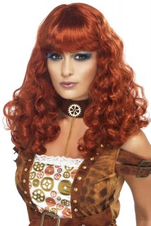 Locken Pony Burlesque Damenperücke rot