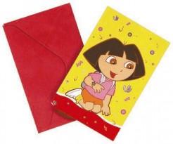 Dora the Explorer™ Einladungskarten für Kindergeburtstage Lizenzartikel 6 Stück bunt