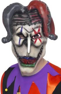 Horror Clown Harlekin Halloween Maske weiss-grau-rot
