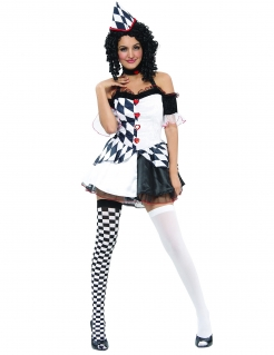 Süsser Harlekin Damenkostüm Clown weiss-schwarz-rot