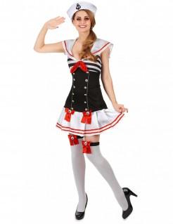 Sexy Matrosin Damenkostüm Seefahrerin schwarz-weiss-rot