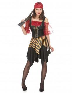 Edle Piratin Damenkostüm rot-schwarz-gold