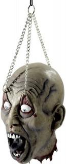 Verstümmelter Zombie Kopf Halloween Party-Deko grau 19x16x31cm