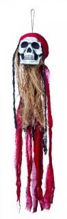 Hängedeko Piratenschädel Halloween Party-Deko rot-bunt 90cm