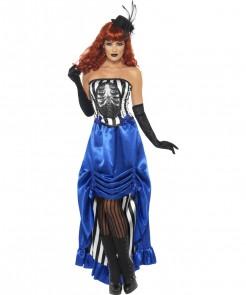 Burlesque CanCan Vampirin Halloween Damenkostüm blau-schwarz-weiss