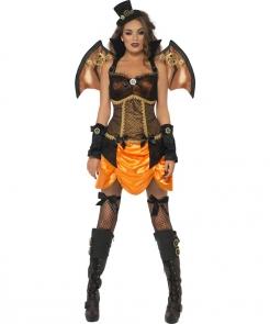 Steampunk Wildwest Vampirin Halloween Damenkostüm orange-schwarz