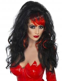 Teufelin-Perücke Halloween Lockenperücke schwarz-rot